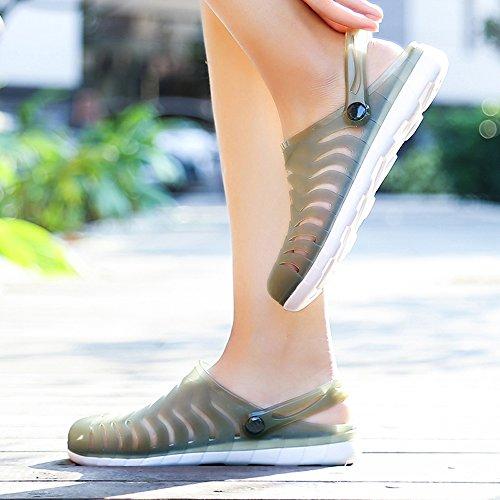 Enllerviid Femmes Bout Fermé Été Sandales Plates Gelée Cut-out Pluie Jardin Plage Glisse Chaussures 888 Vert