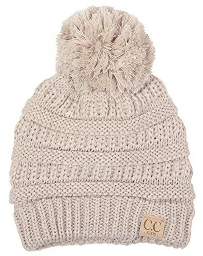 H-6847-60 Girls Winter Hat Warm Knit Slouchy Toddler Kids Pom Beanie - Beige