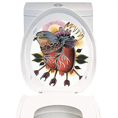 Qianhe-Home Bathroom Toilet seat Sticker Decal Trippy Art Decor Flamed Heart Shaped Hawk Body with Arrow Mind Love Sorrow Heal Art Image Brown Purple. Decal Sticker Vinyl W15 x L17 ()