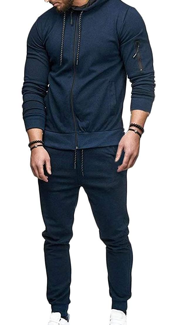 Wofupowga Men Hooded Zip 2 Piece Pocket Drawstring Active Sweatshirts Tracksuit