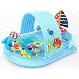 Water Spraying Shark Kiddie Pool & Ring Toss Game - Attach Garden Hose and Spray Water from Cool Summer Shark - Splash in the Sun Pool Play Center - Kids Outdoor Yard Fun Swimming Pool Party Toy - Intex Stong Durable Inflatable PVC