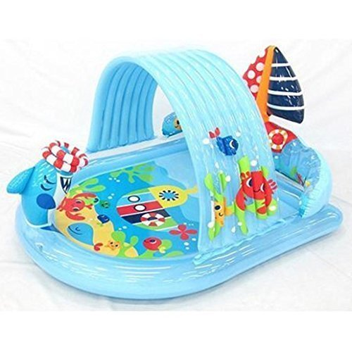 (Water Spraying Shark Kiddie Pool & Ring Toss Game - Attach Garden Hose and Spray Water from Cool Summer Shark - Splash in the Sun Pool Play Center - Kids Outdoor Yard Fun Swimming Pool Party Toy - Intex Stong Durable Inflatable PVC )
