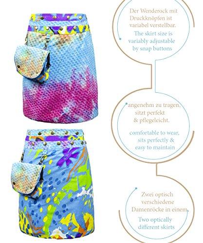 61c05130f9e1 ... Sunsa Damen Rock Minirock Sommerrock Wickelrock Wenderock aus Baumwolle,  Zwei optisch verschiedene Röcke mit einem ...