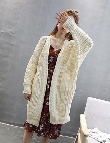 BaiChunYunYi Damen Lang Strickjacke-Lässig Alltäglich Einfach Solide V-Ausschnitt Langarm Baumwolle Herbst Mittel Mikro-elastisch