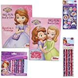 Disney Jr. Sofia the First Ultimate Coloring Book Value Pack Gift Set - 5 Piece Princess Sofia the First Coloring Book and Supply Set for Kids with 2 Big Fun Coloring Books, 1-pack of 8 Colored Pencils and 2 Packs of Crayons (Box Designs May Vary) Plus Bonus Pack of Princess Sofia Stickers