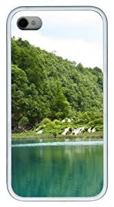 Green Landscape 381 TPU White Case for iphone 4S/4