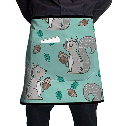 Acorn Bib - GHDSKH Forest Squirrels with Leaves Acorn Autumn Fall On Mint Green Waist Aprons Commercial Restaurant Home Bib Spun Poly Polyester Kitchen for Unisex