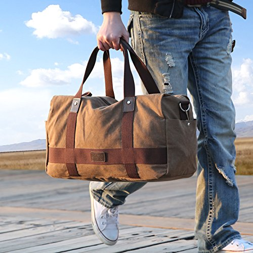 08f4f34a008 Kenox Vintage Canvas Duffle Bag Classic Weekender Travel Duffel  Amazon.co. uk  Clothing