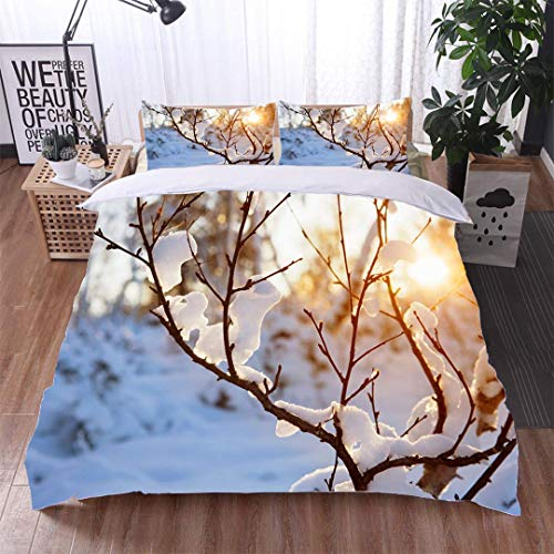 VROSELV-HOME Bedding Sets Duvet Cover Set,Warm Winter Sun,Soft,Breathable,Hypoallergenic,Bedspreads Beach Theme Quilt Cover Children Comforter -