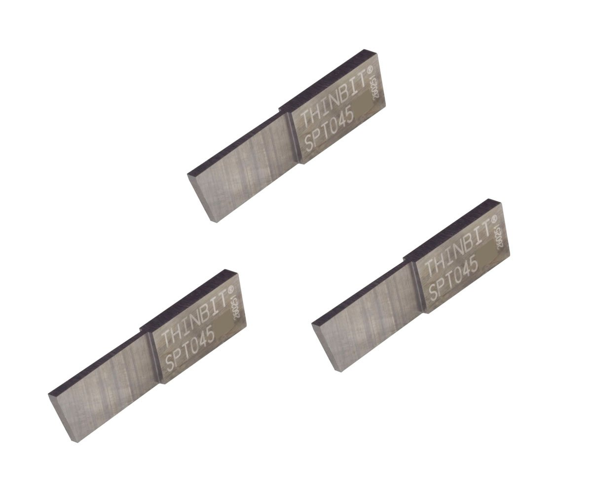 3 Pack SPT045D2 LITTLEBIT 'S' Series Parting Insert, Uncoated Carbide for Steel, cast Iron and Stainless Steel with Interrupted cuts. THINBIT Made in The USA