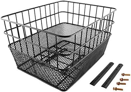 RMS - Cesta trasera rectangular alta de doble malla, negra (cestas ...
