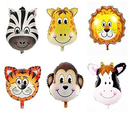 King & Pig 6pcs 32'' Super Big Jungle Animals Balloons Birthday Party Decorations(Lion Tiger Monkey Zebra Giraffe -