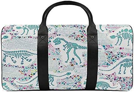 白の恐竜化石4アクア1 旅行バッグナイロンハンドバッグ大容量軽量多機能荷物ポーチフィットネスバッグユニセックス旅行ビジネス通勤旅行スーツケースポーチ収納バッグ