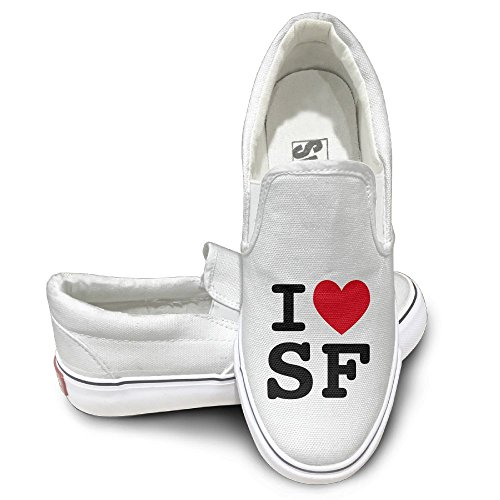 SH-rong I Heart SF Unisex Canvas Sneakers Shoes Size 35 White
