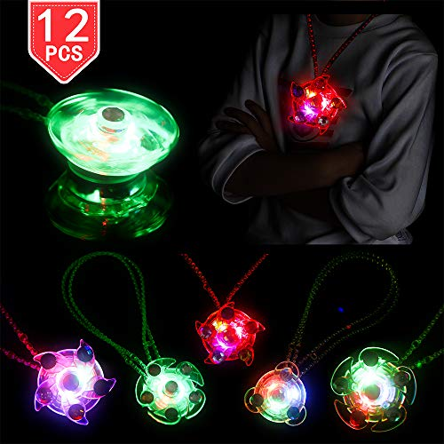 PROLOSO 12 Pack LED Light Up Necklaces Glow in The Dark Party Favors Flashing Necklace with Gyro Spiral Twister Toys]()