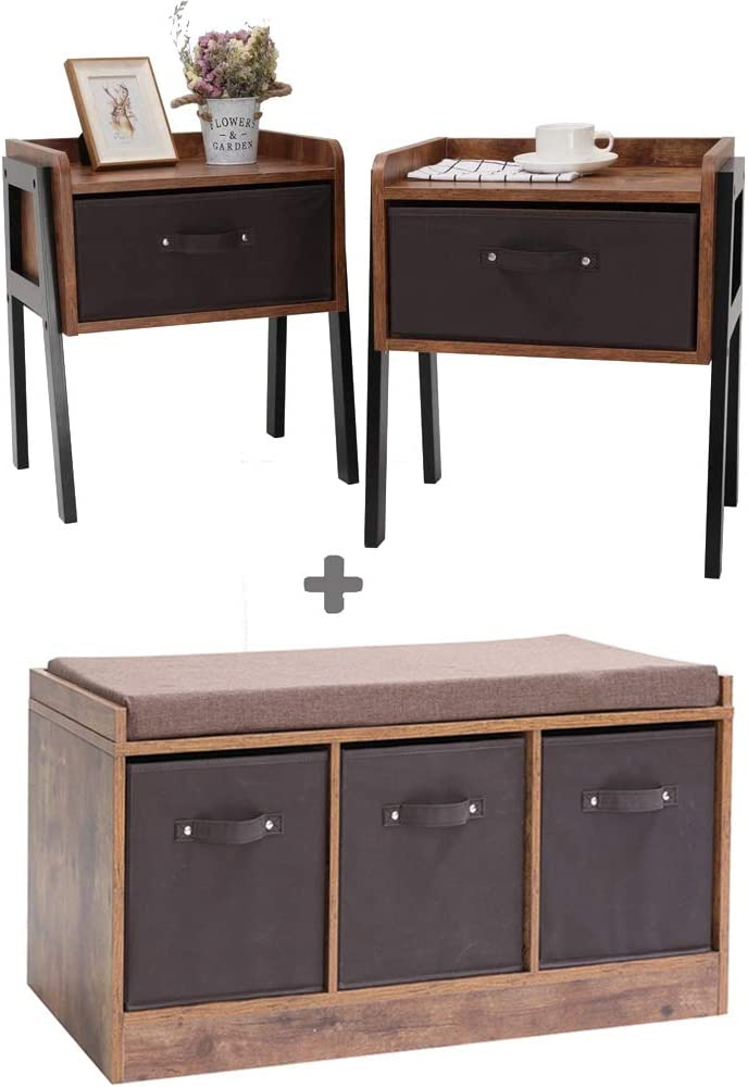 IWELL Rustic Storage Cabinet & Set of 2 Nightstands, 2 Piece Furniture for Small Room, Living Room, Wood Frame, Office, Bedroom, Hallway