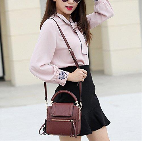 Xinmaoyuan Vintage bolsos de señora primavera y verano bolsa pequeña Mini Bolsa bandolera de cuero Vintage Bolso de Hombro única Bolsa de ternera,rojo vino El vino rojo y