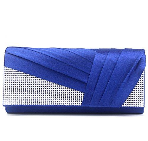 (Jubileens Womens Elegant Pleated Satin Crystal Fashion Clutch Evening Bag Purse (Blue))