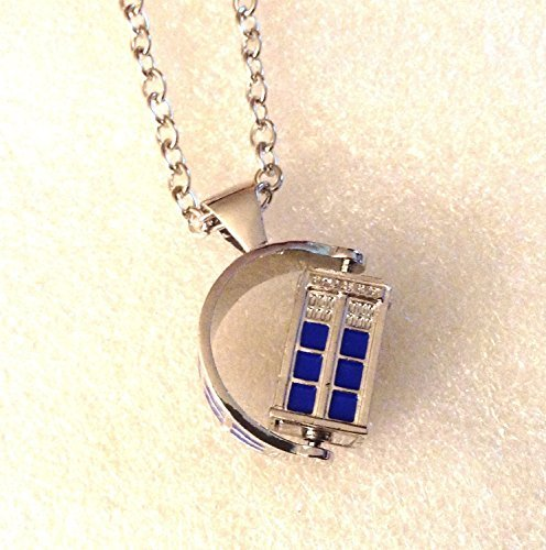 Doctor Who SPINNING 3D TARDIS Police Box Pendant NECKLACE w/ 30″ Chain