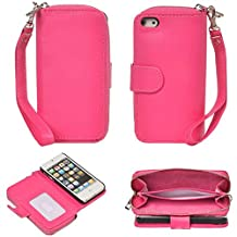 ABC® Magnetic Zip Leather Card Case Cover Flip Wallet for iPhone 5 5G 5S (Hot Pink)