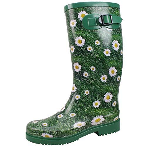 Damen Bockstiegel Blumenmuster mit modische Wiebke Gummistiefel Grün qfAET