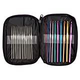 BetyBedy 22pcs Mixed Aluminum Handle Crochet Hooks, Ergonomic Knitting Needles, Weave Yarn Set, 0.6~6.5mm: more info