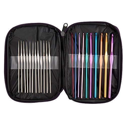 BetyBedy 22pcs Mixed Aluminum Handle Crochet Hooks, Ergonomic Knitting Needles, Weave Yarn Set, 0.6~6.5mm