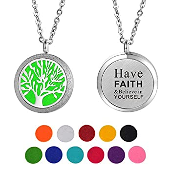 HOUSWEETY Aromatherapy Essential Oil Diffuser Necklace-Stainless Steel Engraved Locket Pendant,11 Refill Pads