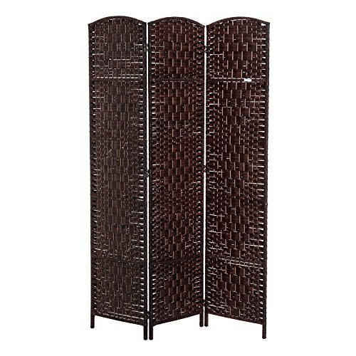 (HOMCOM 6' Tall Wicker Weave 3 Panel Room Divider Privacy Screen - Chestnut Brown)