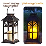 Solar Garden Lantern with Classic Bronze Antique Metal and Glass Construction | Indoor or Outdoor Solar Hanging Lantern or Tabletop | Solar Powered Lantern with LED Flickering Candle