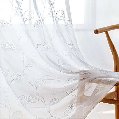 White Sheer Curtains for Living Room Leaf Tile Embroidered Window Curtain Rod Pocket Leaf Geometric Embroidery Drapes Bedroom Kitchen 63 inch 2 Panels (Sheers Lace White)