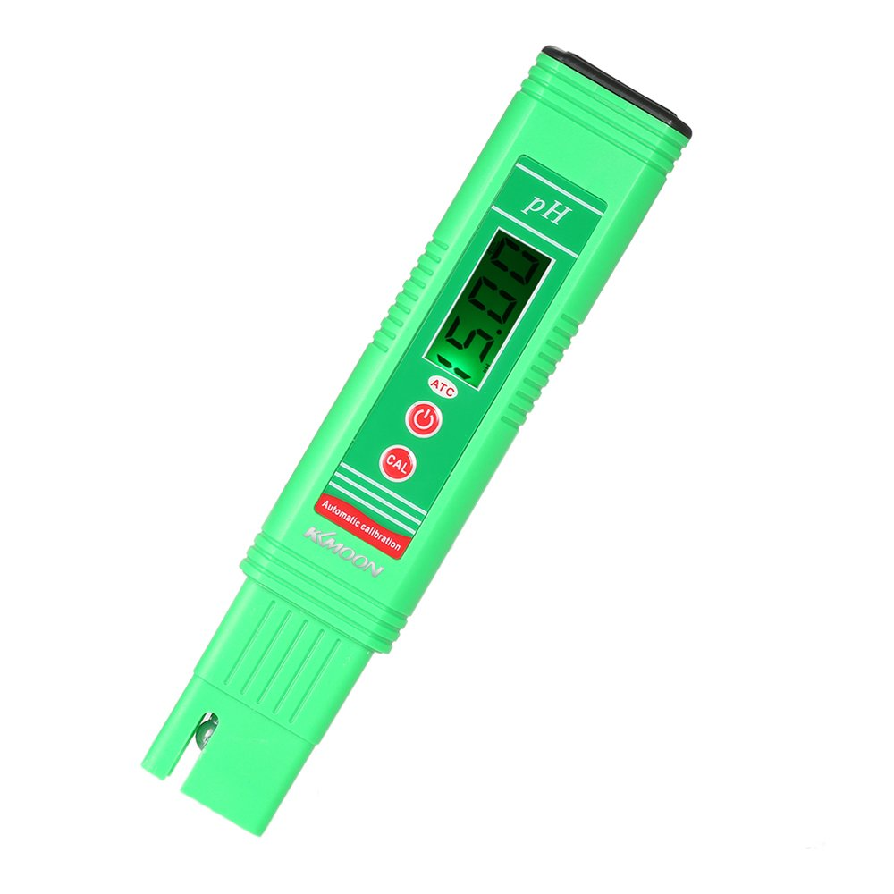 KKmoon Power-saving pH-006 Pen-Type pH Meter High Precision Automatic Temperature Compensation ATC Function Auto Calibration and Backlight LCD Acidity Tester Portable Water Quality Analysis Device