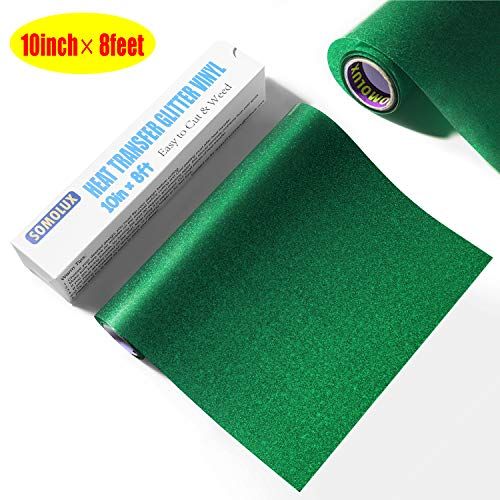Glitter HTV Iron on Vinyl 10inch x 8feet Roll by SOMOLUX for Silhouette and Cricut Easy to Cut & Weed Heat Transfer Vinyl DIY Heat Press Design for T-Shirts Green