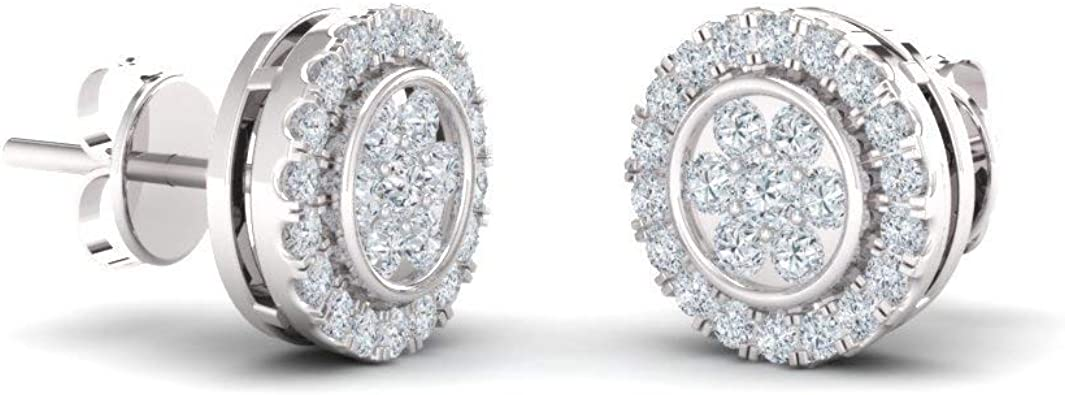 Sterling Silver Diamond Mens 3D Cluster Stud Earrings 1//2 ct