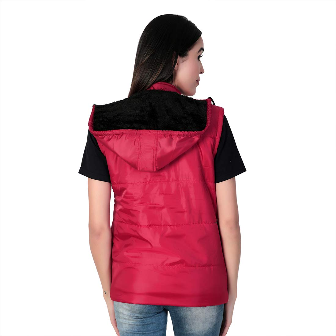 Buy LAPATA Half Sleeves Winter Bomber Jacket for Girls or Ladies (Red, Large) at Amazon.in