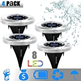 Solar Ground Lights, Garden Pathway Underground Lights Outdoor Waterproof with 8 LED Lights Outside Power Lamp Lights Dark Sensing LampScape Buried Light for Outdoor Path Way Garden Decking 4 Pack