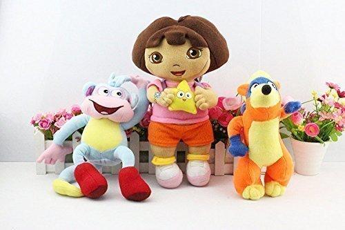 [Dora the Explorer Boots Monkey Swiper Fox Dora 9-12 Inch Toddler Stuffed Plush Kids Toys 3 Pcs/set] (Dora Diego And Boots)