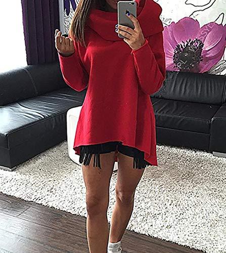Casual Printemps Fashion et Pullover Manches Hauts Tous Automne Longues Les Irregulier Shirts Roul Chandail Col de Shirts T Tops Jours Blouse Pulls Rouge Jumpers Sweat Femmes ZrFZwYx
