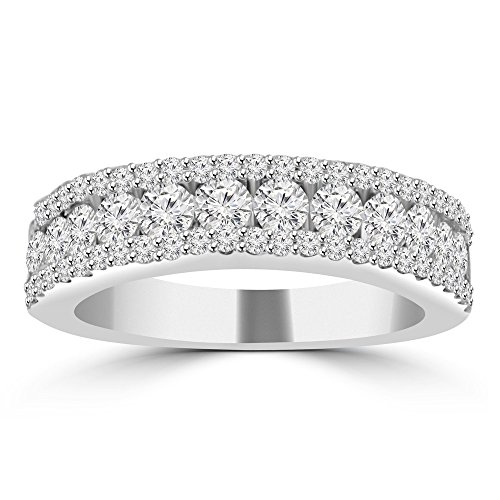 1.16 ct Ladies Three Row Round Cut Diamond Wedding Band (Color G Clarity SI-1) in Platinum In Size 10