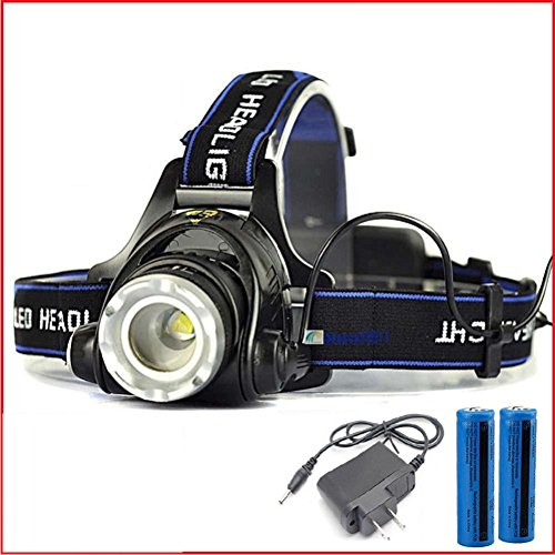 30000 Lumens LED Headlamp Flashlight Waterproof Rechargeable Zoomable Adjustable Focus Headlight Camping Hiking Hunting Running Working Outdoor Sports 3 Switch Mode high/low/strobe 2 Batteries/Charge