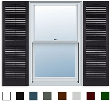 15 Inch X 55 Inch Standard Louver Exterior Vinyl Window Shutters Black Pair