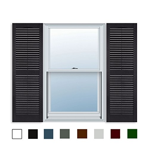 Shutters Window Boxes - 15 Inch x 47 Inch Standard Louver Exterior Vinyl Window Shutters, Black (Pair)
