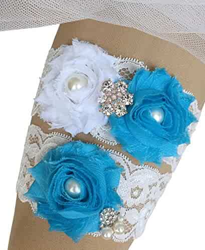 aa44718267d MerryJuly Bridal Garter Set Lace with Rhinestones Wedding Garters for Bride
