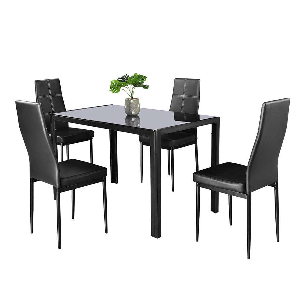 Bonnlo Dining Set Black Glass Dining Table and Chair Set,Kitchen Room Table with 4 Chairs