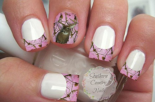 Amazon Pink Camo Deer French Tips And Full Nail Art Decals