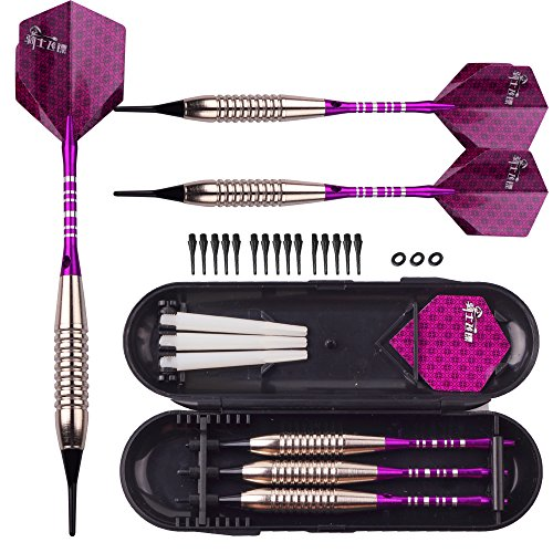 Purple Soft Tip Darts Set - 18g Professional Darts Plastic Tip - 16g Dart Barrels w/o-Rings + 6 Aluminum Shafts + Extra 15 Replacement Soft Tips Accessories for Electronic Dart Board
