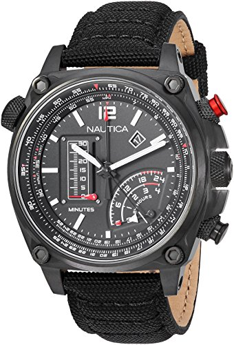 Nautica Men's 'MILLROCK COLLECTION' Quartz Stainless Steel and Nylon Casual Watch, Color:Black (Model: NAPMLR003)