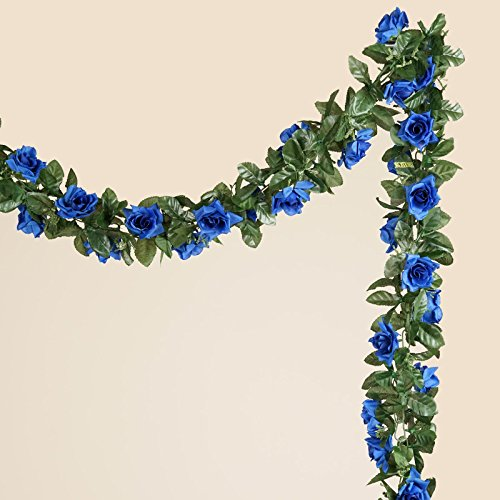 Tableclothsfactory 6 FT Long 3D Chain Artificial Rose Garlands Wedding Supply - Royal Blue