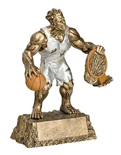 Decade Awards Monster Basketball Trophy | Triumphant Beast Basketball Award | 6.75 Inch Tall - Free Engraved Plate on Request - Award Cast Plaque