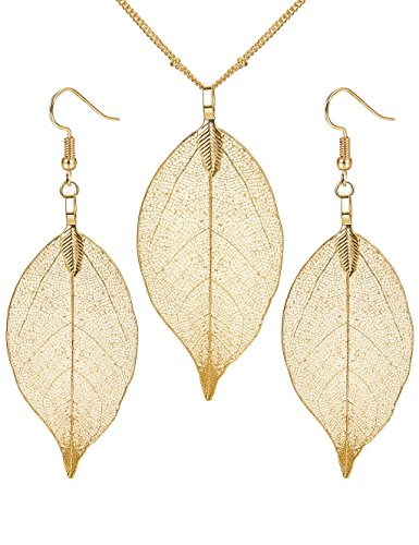 Thunaraz Real Natural Filigree Leaf Earrings Long Pendant Necklace Gold Silver Plated Trendy Costume - Fashion Womens Trendy